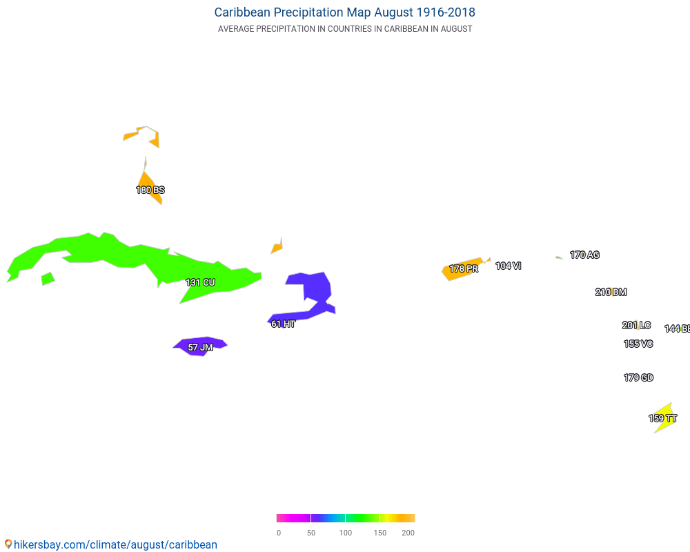 Caribbean - Average temperature in Caribbean over the years. Average Weather in August.