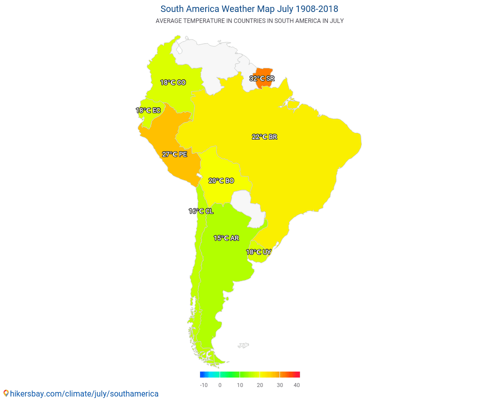 South America - Average temperature in South America over the years. Average Weather in July.