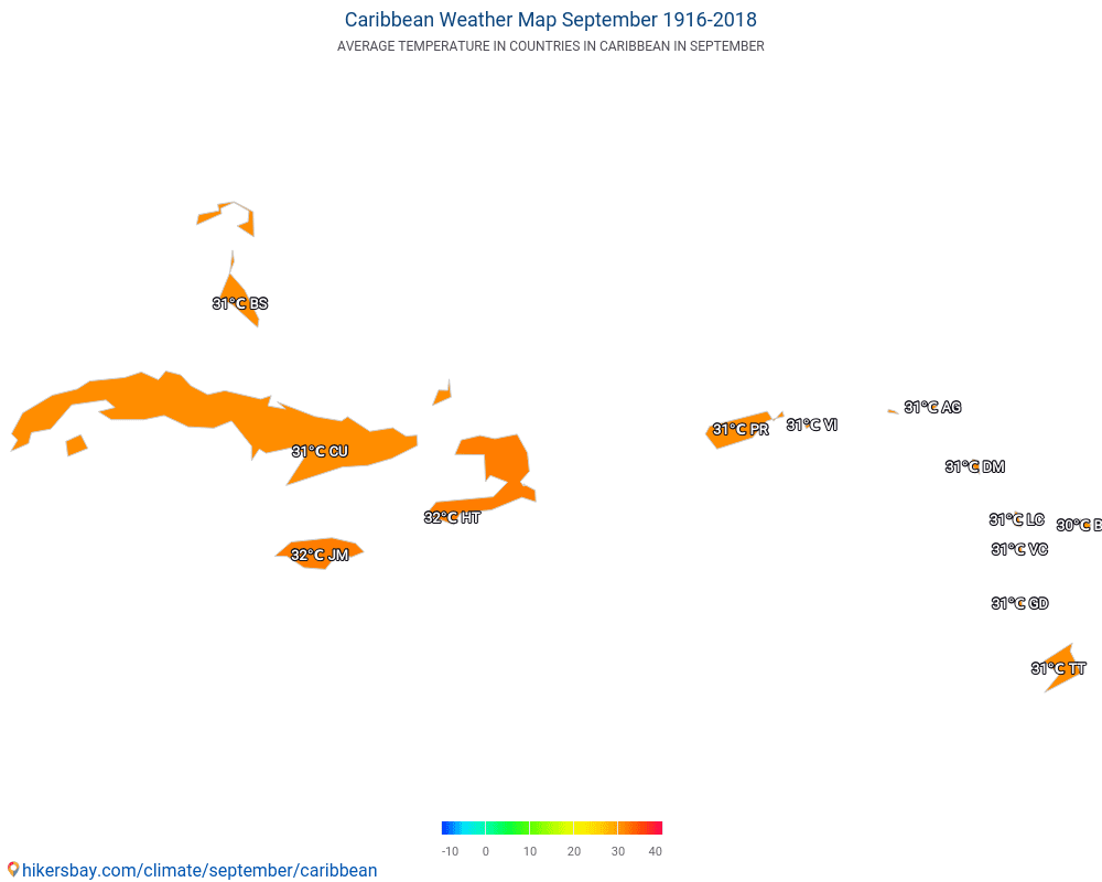Caribbean - Average temperature in Caribbean over the years. Average Weather in September.