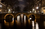 bridge, amsterdam, lights