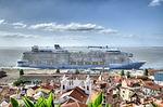 cruise ship, lisbon, cruise