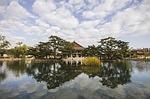 south korea, temple, lake