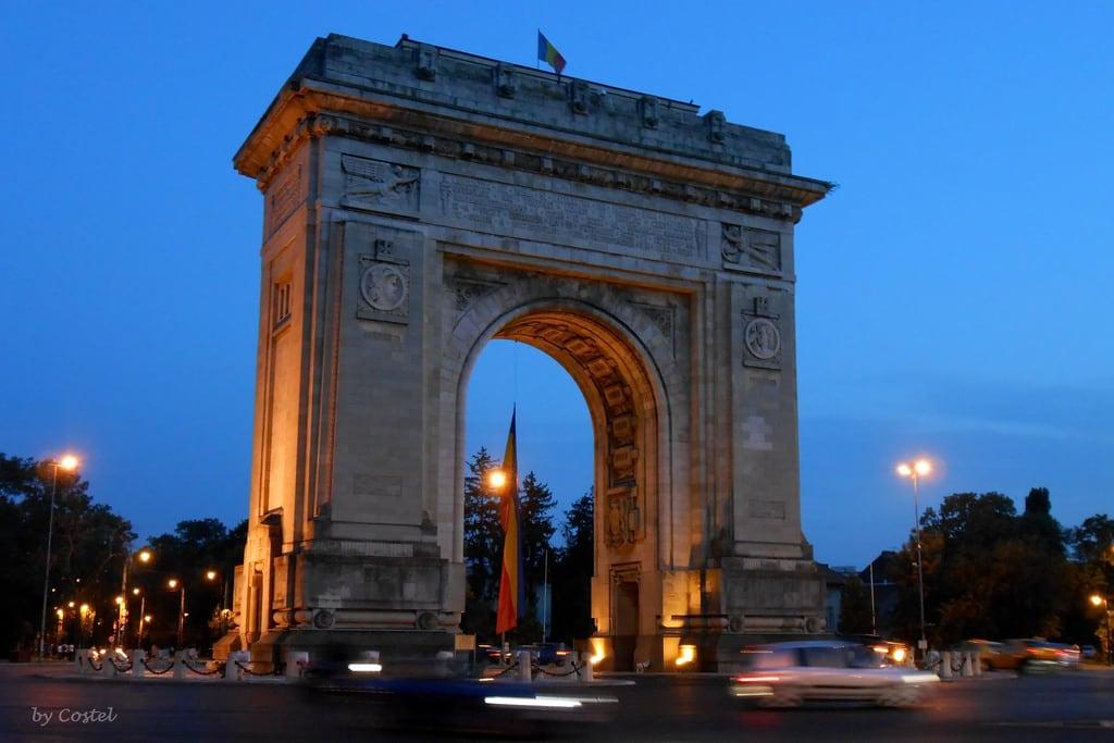 Image of Triumphal Arch. romania bluehour bucharest bucuresti outstandingromanianphotographers
