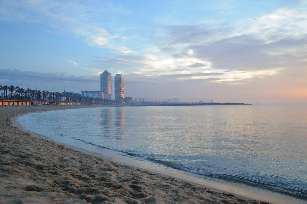 Image of Platja de Sant Miquel. barcelona beach sunrise spain nikon catalunya świt d700