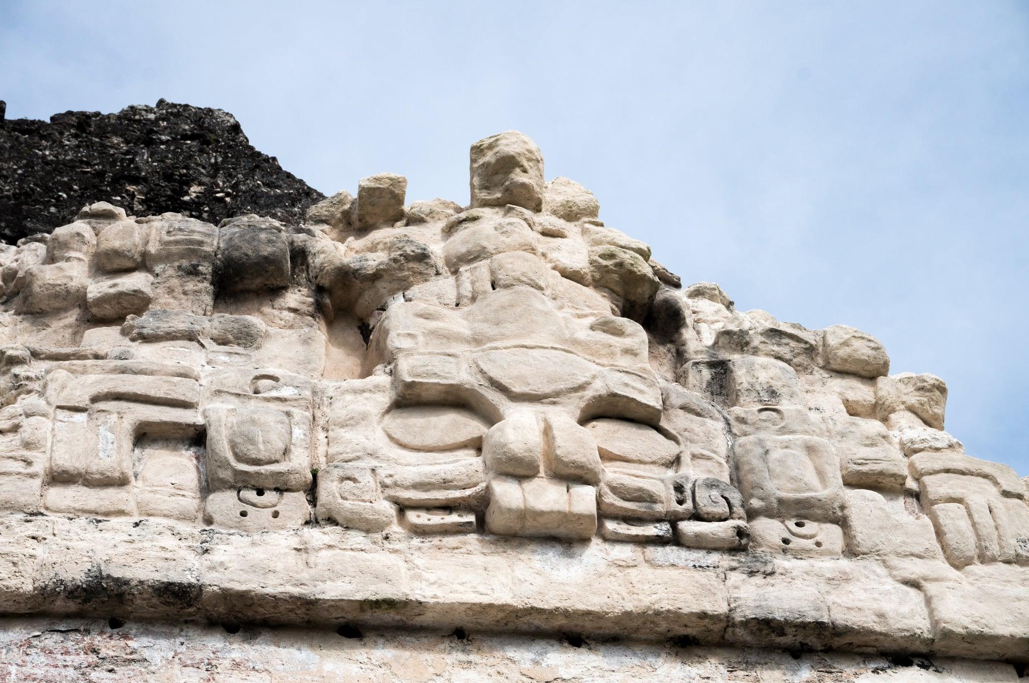 Temple II Tikal yakın görüntü. guatemala tikal petén