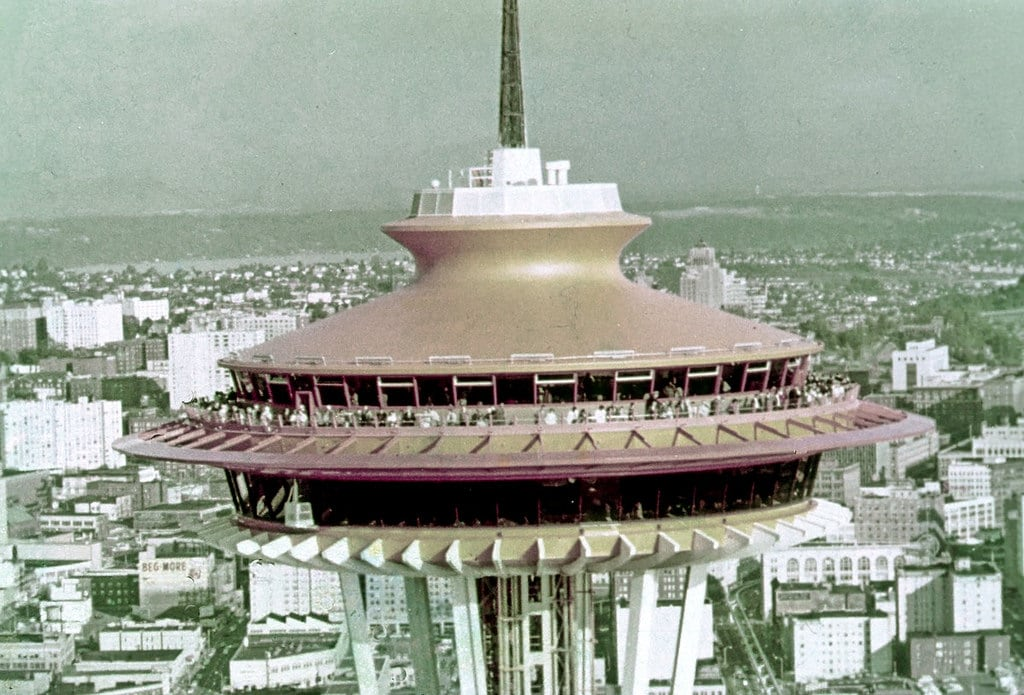 صورة Space Needle. seattlemunicipalarchives seattle spaceneedle seattlecenter century21 worldsfairs 1960s