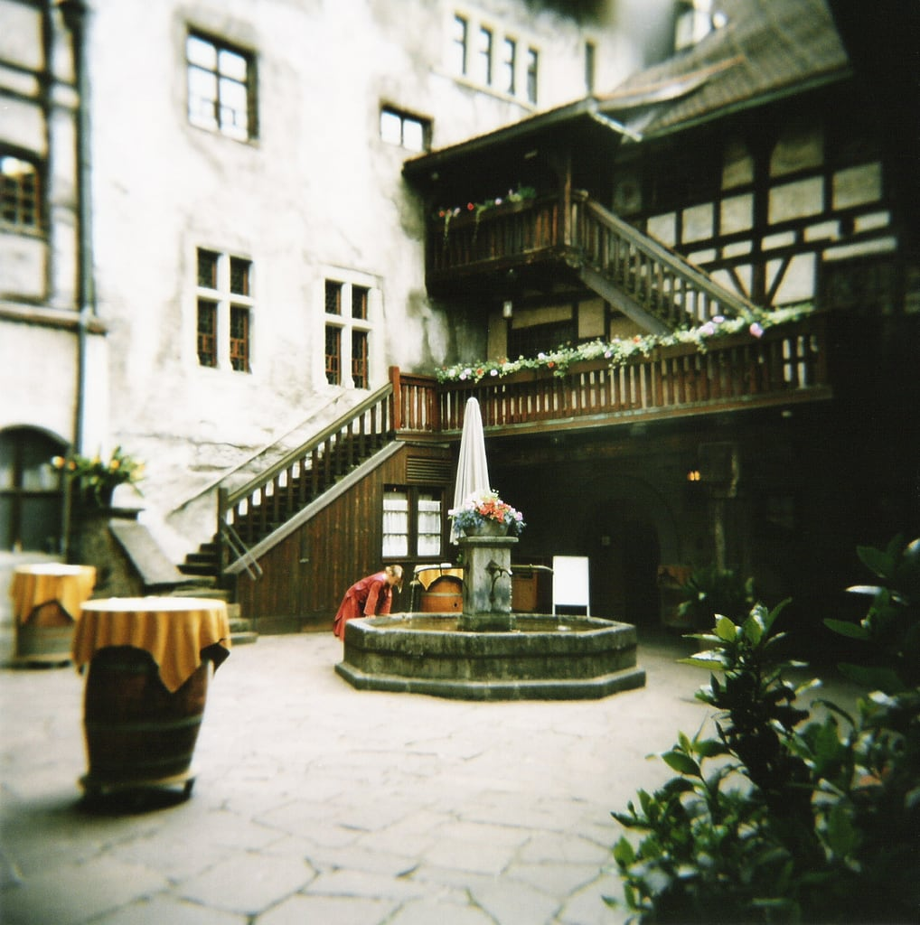 Image of Schattenburg. castle film fountain stairs holga stair medieval well middleages mediaeval innerward darkages portra400vc schattenburg