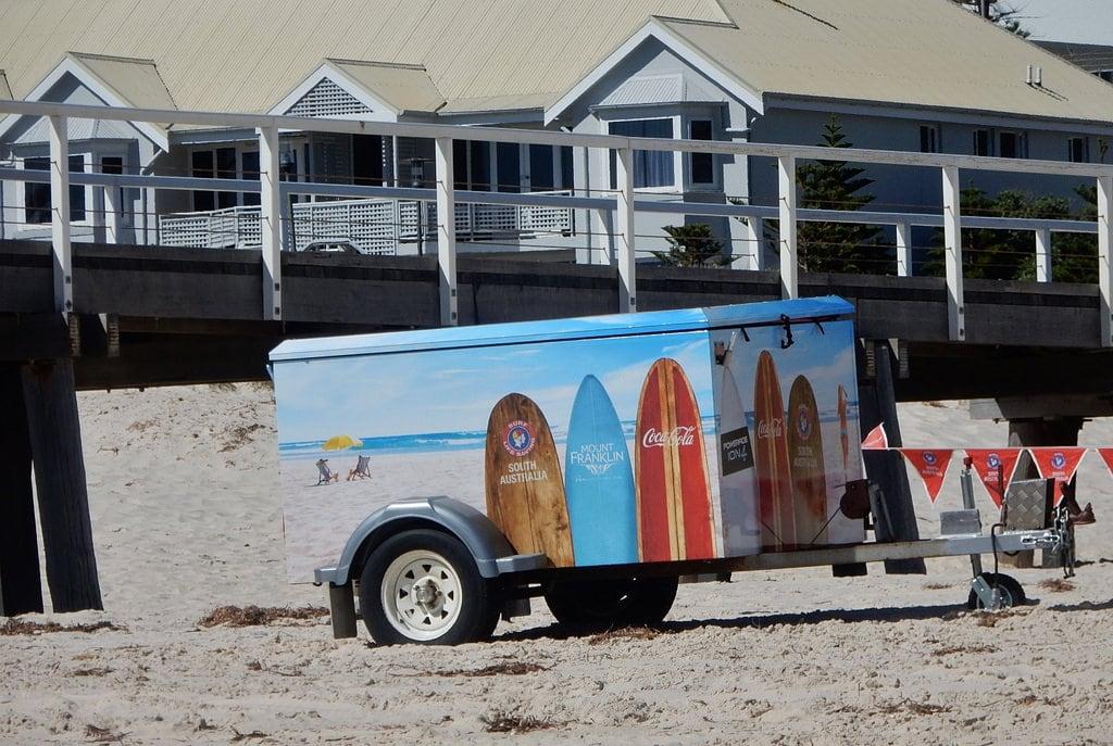 Image of Grange Beach near Grange. beach trailer surfboards forrent jetty grange