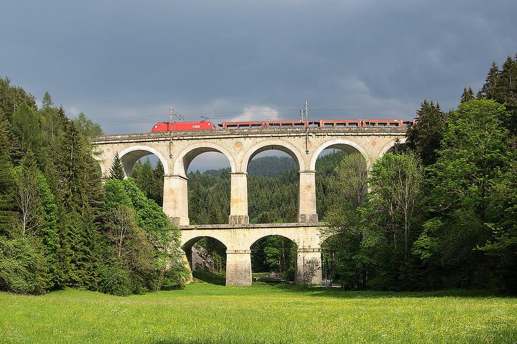 Image of Semmering railway near Semmering. track railway taurus bahn semmering obb rinne viadukt kalte kalterinne