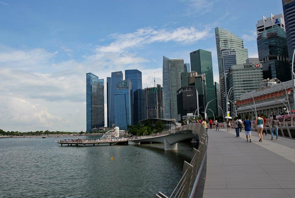 Image of Esplanade. marinabaysands asia singaporeflyer esplanade bridge esplanadetheatre milleniatower merlion artsciencemuseum
