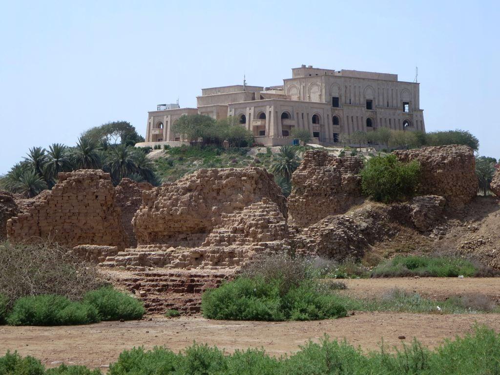 Image of Babylon. palace saddamhussein overlooking babylon iraq