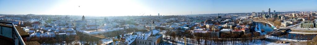 Image of Gediminas Tower. city winter panorama snow lithuania vilnius gediminastower