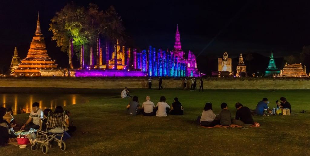 Image of Sukhothai Historical Park near Ban Na. buddha sukhothai temple thailand lightshow night unescoworldheritagesite