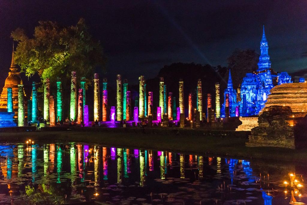 Image of Sukhothai Historical Park near Ban Na. buddha sukhothai temple thailand lightshow night unescoworldheritagesite watmahathat sukhothaihistoricalpark
