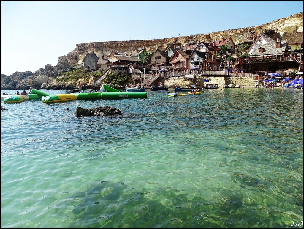 Immagine di Popeye Village. malta europe europa popeyevillage thematicpark anchorbay mediterraneansea marmediterraneo