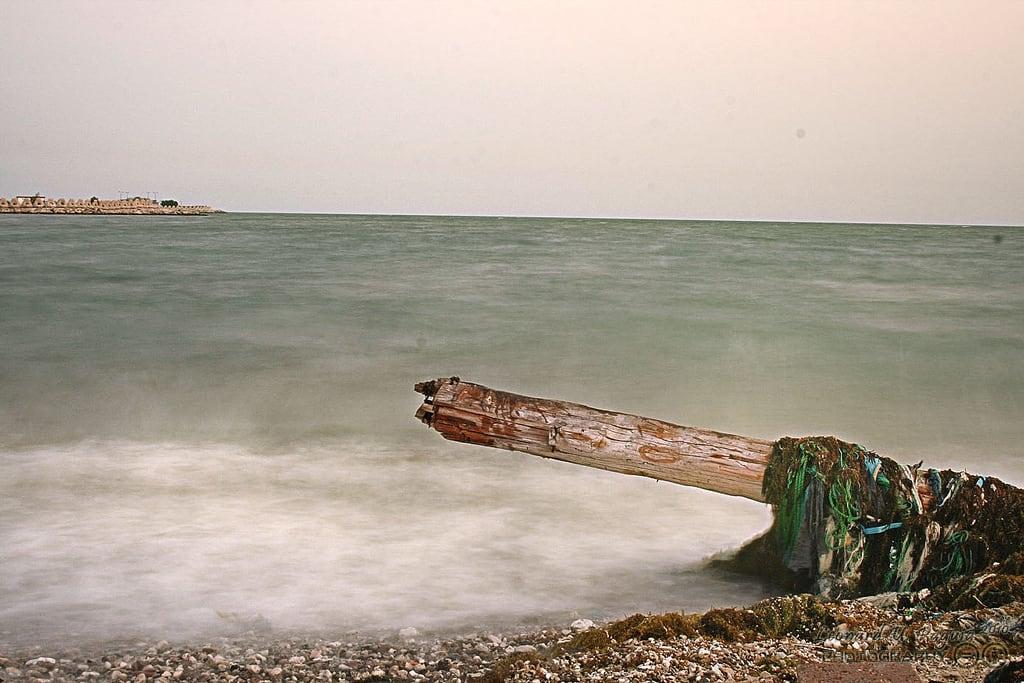 Billede af شاطئ الجبيل Strand med en længde på 1257 meter. wood sea canon horizon shore ksa jubail