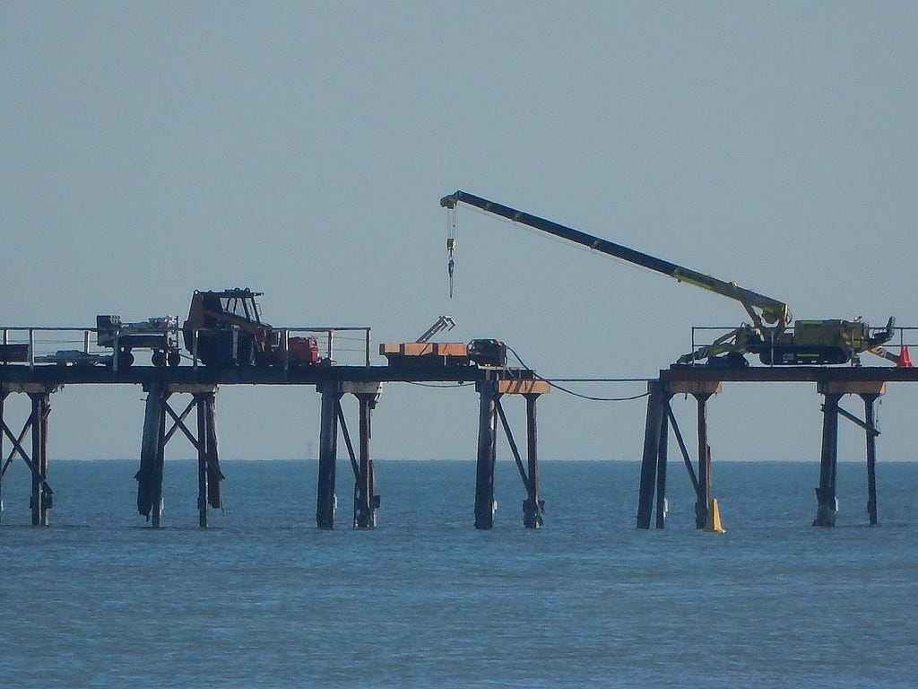 Image of Henley Beach near Henley Beach. henleybeach jetty repairs beach crane gap