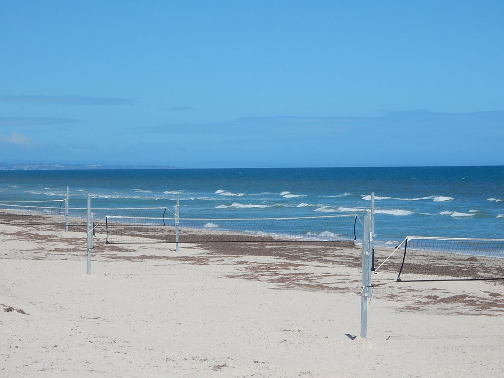 Image of Grange Beach near Grange. grange volleyball nets new beach sea sport recreation
