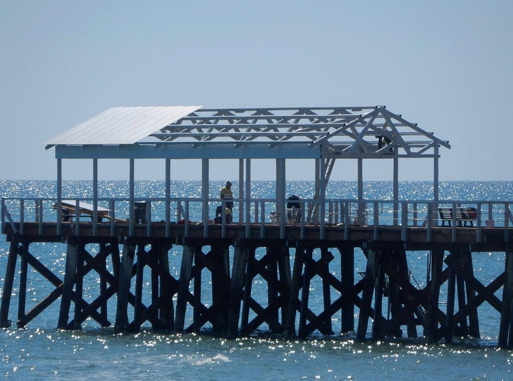 Image of Henley Beach near Henley Beach. henleybeach jetty repairs unfinished roof horizon