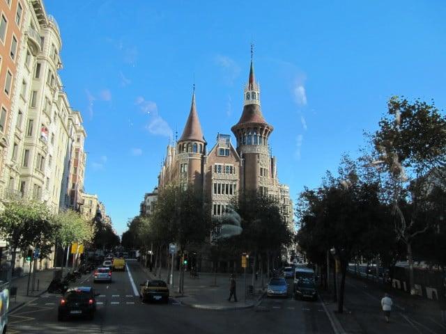 Image of Casa de les Punxes. barcelona spain catalonia diagonal daytwo casadelespunxes blueroute avenidadiagonal touristbus casaterrades houseofspikes