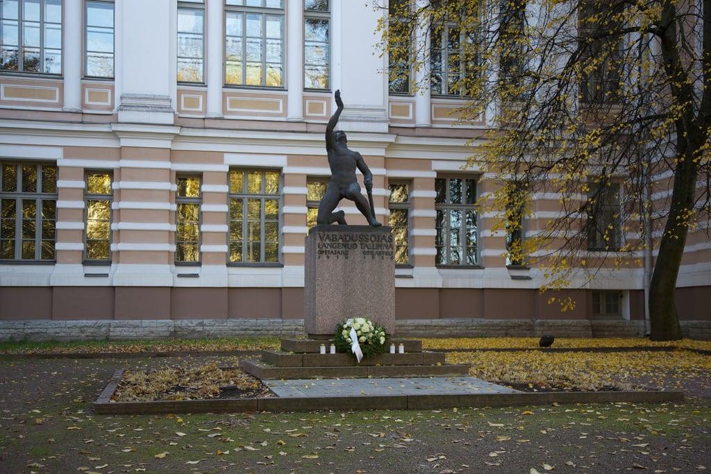Image of Reaali Poiss. autumn sculpture monument tallinn estonia canonef24105mmf4lis reaalkool