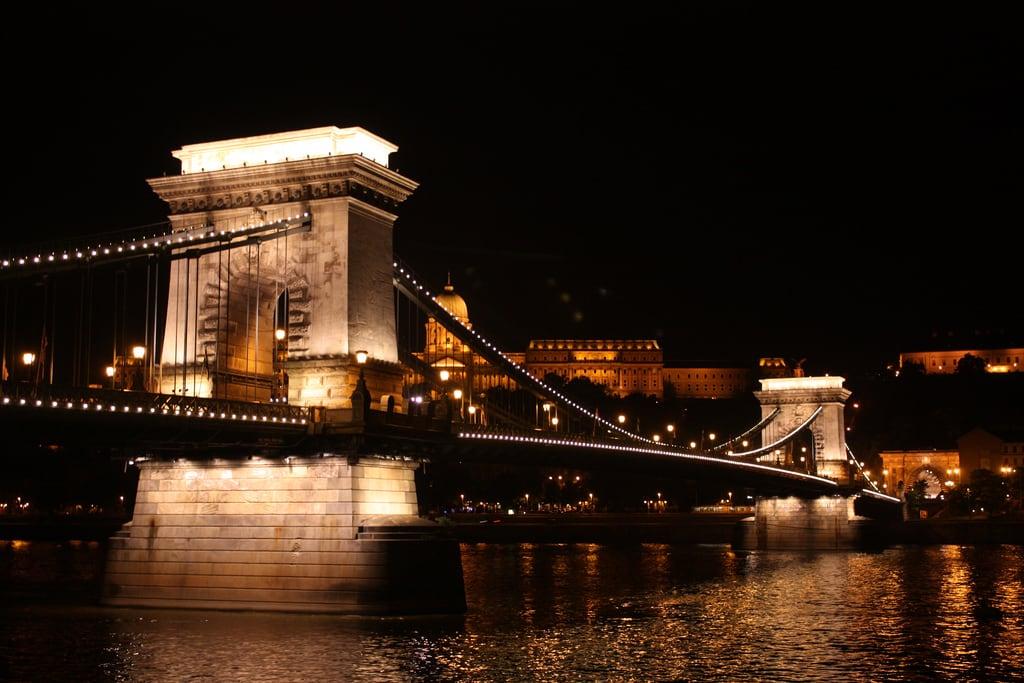 Image de Zero Kilometre Stone. budapest széchenyichainbridge széchenyi chainbridge bridge hungary danube duna suspensionbridge buda pest night 2011