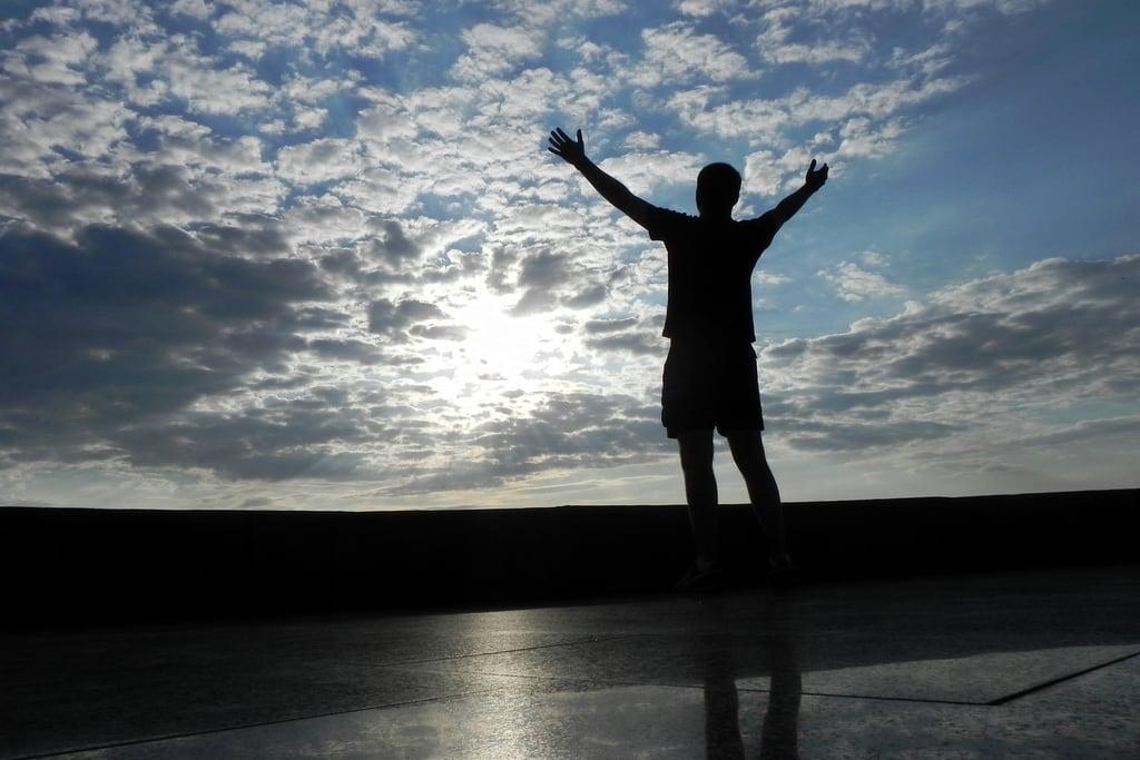 Image of Курган Славы. hello lighting light sunset portrait sky people sun sunshine silhouette set clouds freedom sundown altitude air profile figure belarus mound setting decline highness inches height contour afterglow беларусь курганславы moundofglory everknew