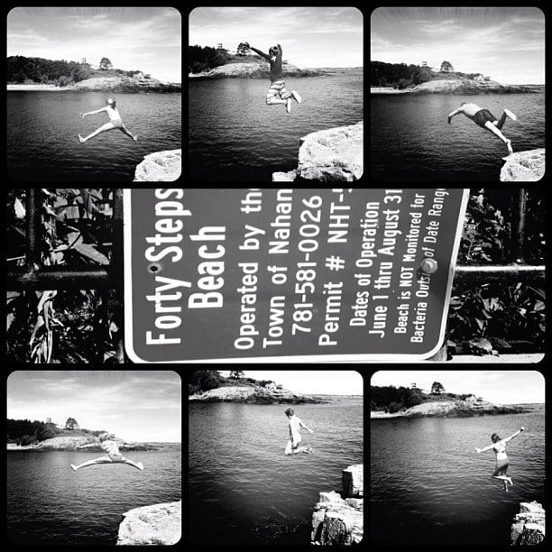 Image de Forty Steps Beach. ocean summer vacation blackandwhite beach collage square ma fun jump jumping newengland squareformat nahant 40steps frametastic iphoneography hipstamatic ipdegirl instagramapp uploaded:by=instagram foursquare:venue=4bb8b1ccb35776b0151dc901